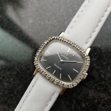 OMEGA Ladies Geneve White Gold-Plated w/Diamond Set Dress Watch c.1970s LV449