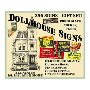 Dollhouse Signs, Huge Set 4 STICKER SHEETS, 256 Multi-Scale Advertising Signs