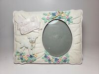 Baby  Baptism Porcelain Photo Frame 3d textured sheep holy cross flower girl boy