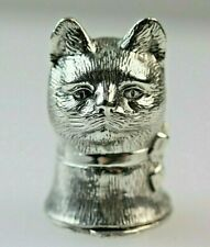 CAT SILVER MATCH SAFE VESTA CASE  HALLMARKED 30 GRAMS