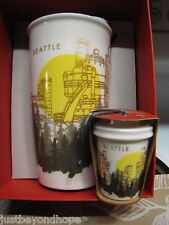 NIB 2015 Starbucks Seattle Gas Works Park Traveler Tumbler Mug Xmas Ornament Set