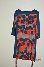ANN TAYLOR PETITE SIZE MP NAVY TAN RED FLORAL PRINT DRESS BELTED 3/4 SLEEVE