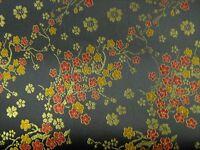 Black blossom Chinese print Satin Dress Fabric 112cm Wide SOLD PER METRE