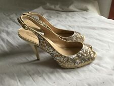 ladies BCBG MAX AZRIA gold and silver sequin peep toe high heel sandal UK 8