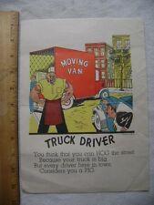 ca.1940's Vinegar Valentine or Penny Dreadful - Truck Driver