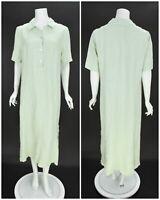 Womens OSKA 100% Linen Shift Long Shirt Dress Green Short Sleeve Size 2 / UK12