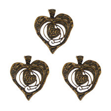 3pcs Vintage Gold Alloy Double Heart Pendant Charms Jewelry Decoration 04110