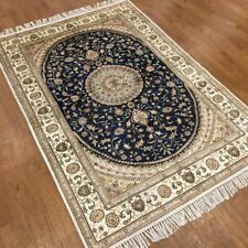 YILONG 4'x6' Blue Vintage Handmade Carpets Hand Knotted Classic Silk Rugs 380C