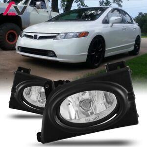 For Civic Sedan 06-08 Clear Lens Pair Bumper Fog Light Lamp+Wiring+Switch Kit