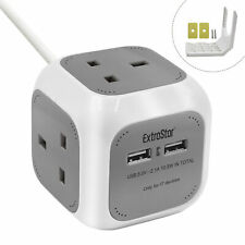 4 Way Extrastar Power Cube Socket with 2 USB Ports 1.5M Electric Extension Lead