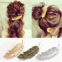 Women Gold/Silver Leaf Feather Hair Clip Hairpin Barrette Bobby Pin Accessories-
