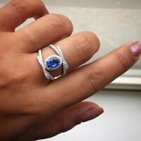 Charm 925 Silver Oval Sapphire Birthstone Rings Women Engagement Jewelry 6-10