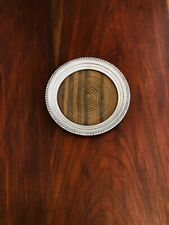 - AMERICAN STERLING SILVER & WOOD CHAMPAGNE COASTER: NO MONOGRAMS