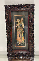 Sumptuous Thai Buddhist Watercolour Painting Hand Carved Wood Picture Frame