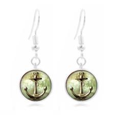 Anchor Nautical Tibet Silver Dome Photo 16MM Glass Cabochon Long Earrings #23