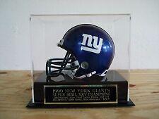 Football Mini Helmet Case With A New York Giants Super Bowl 25 Nameplate