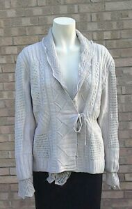 BRAX Stone Cable Chunky Cardigan .. Tie Front .. Fits UK 16/18