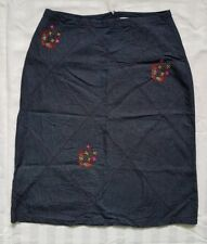 Ladies size 10 blue lightweight denim skirt with embroidery