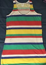 Piper and Blue Tunic Top M Medium Multi-color Racerback Stripes RGBYW