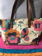 Fossil Hunter Natural & Multi-Color Canvas Floral Leather Trim Zip Tote &Shopper
