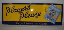 Antique Enamel Advertising Sign Players Please Cigarettes  Vintage  Tobacco