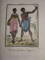 Gravure COSTUME COULEUR CHAGGA AFRIQUE  AFRICA TANZANIE JAGGA TANZANIA 1806