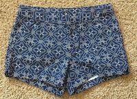 NWT Girls Blue Print Adjustable Waist Cherokee Shorts Medium 7/8
