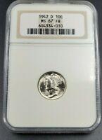 1942 D Mercury Silver Dime Coin NGC MS67 Gem BU Unc No Toning ANA Brown Label
