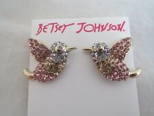 Betsey Johnson pink~blue pave crystal bird earrings, NWT
