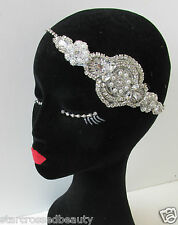 Vintage 1920s Silver Diamante Headpiece Great Gatsby Flapper Bridal Headband Q12