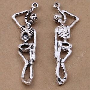 10x Charms Skeleton Pendant Beads Jewellery Crafts Tibetan Silver 12*42mm /S298