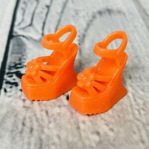 Mattel Barbie Doll FASHIONISTAS FASHION FEVER Orange Chunky Wedge Heels Sandals
