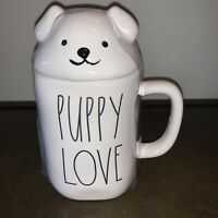 "New RAE DUNN Artisan Collection LL ""PUPPY LOVE"" Mug With Topper By Magenta"