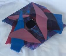 Two's Company Abstract Flower Candle Holder Art Glass Blue Pink Angular Frog