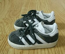 Adidas Gazelle Toddler Trainers Grey Suede & White Size Infant Baby 3 / 19