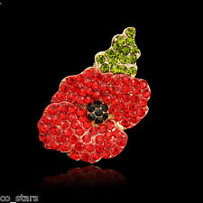 Gold Red Poppy Flower Brooch Crystal Diamante Pin Badge Remembrance Gift 13A