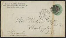 US 1881 ADVERTISING WHOLESALE BOOTS & SHOES ST LOUIS MO FANCY CANCEL TO WASHINGT