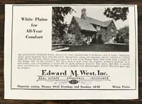 1936 Edward M West Real Estate Print Ad White Plains for All-Year Comfort