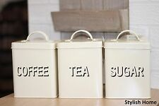 Set of 3 Vintage Cream Metal coffe,sugar,tea Storage Tin