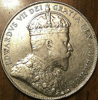 1910 CANADA SILVER 50 CENTS - Really nice example - Edwardian leaves