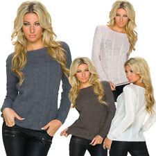 Grobe Damen-Pullover & Strickware mit Langarm-Ärmelart aus Wolle ohne Verschluss