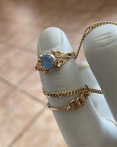 Echt Gold Ring 585 Er16 Karat Antik Vintage Oma Erbe 53 Breit Robust Blaues Stei
