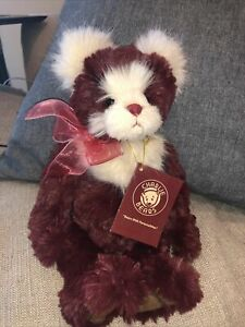 CHARLIE BEARS Tags CB171780A Berry 2018 Secret Collection Burgundy Jointed 11""