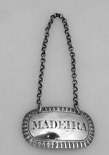 Madeira Bottle Tag Label William Barrett II 1824 London Sterling Silver