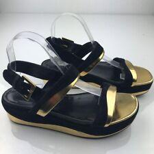 Sergio Rossi Womens Platform Sandals Black Suede Gold Leather Strappy 40 9.5