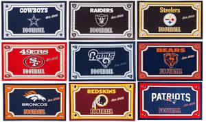 """NFL Embossed Doormat Mat Rug 18"""" x 30"""" Skid Resistant"""