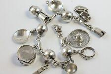 "Vintage Handmade Sterling Silver Bracelet Bead Charm Music Tribal Loaded 7"" 35gr"