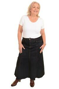 Ladies Long Flared Dark Indigo Stretch Denim Maxi Skirt Sizes 8 to 26