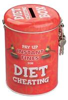 Diet Cheating Novelty Fine Tin Money Storage Lockable Piggy bank Saving Jar Gift