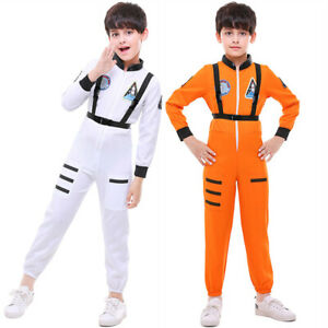 Astronaut Childs Costume Boys Girls Spaceman Cosplay Fancy Dress Space Junmpsuit